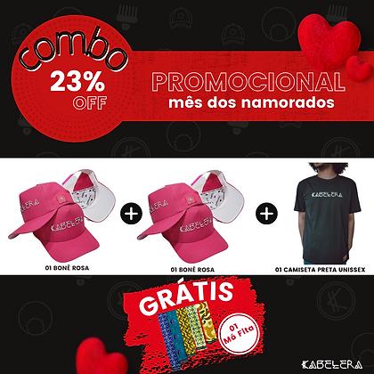2Bonés Rosas + Camiseta = Mó Fita