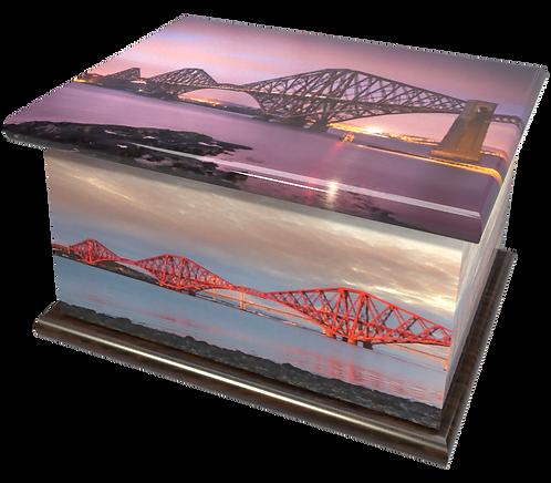 Scottish Fourth Bridge design PEROSNALISED CUSTOM Cremation Ashes Caskets, Urns and Keep-Sakes