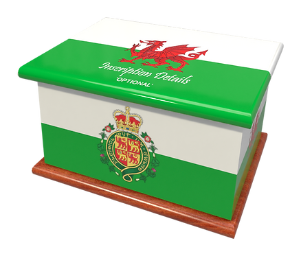 Personalised Custom Cremation Ashes Caskets COUNTRY AND BRITISH COUNTY FLAGS WALES WELSH CYMRU