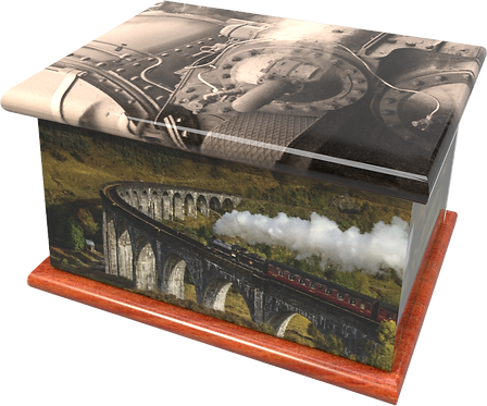 Personalised Custon Cremation Ashes Casket and Keep-Sake in STEAM TRAINdesign