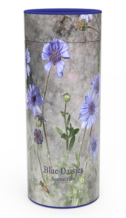 Custom Personalised Funeral Cremation Ashes Casket Urn Floral Flower Designs  BLUE DAISIES