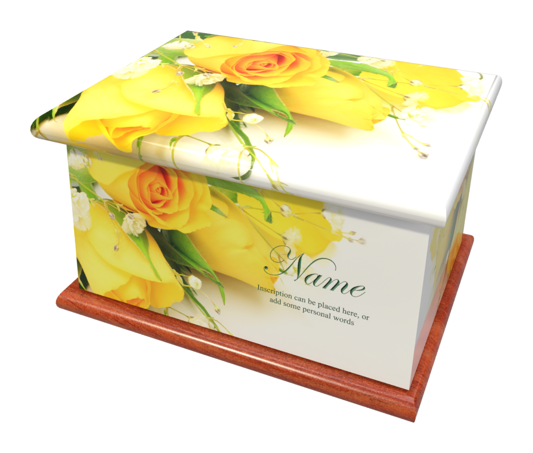 Ashes Casket YELLOW ROSES (MAHOGANY BASE
