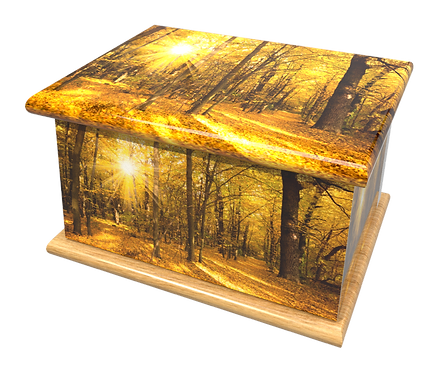 Personalised Custom Cremation Ashes Caskets and Keep-Sake Urns in a AUTUMN WOODLAND Landscape design