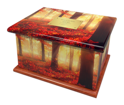 Ashes Casket AUTUMN FOREST (MAHOGANY BAS