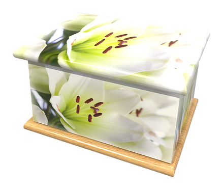Personalised Custom FLORAL WHITE LILY LILIES Cremation Ashes Casket and Keep-Sake Urns