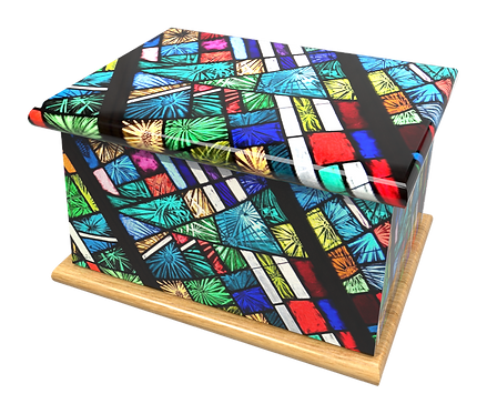 Personalised Custom Cremation Ashes Caskets and Keep-Sake Urns in a Spiritual Relgious CHURCH STAINED GLASS design