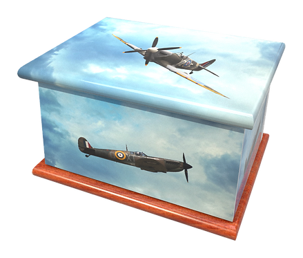 Personalised Custom Cremation Ashes Caskets and Keep-Sake Urns in a SPITFIRE HURRICAN AIRFORCE designign