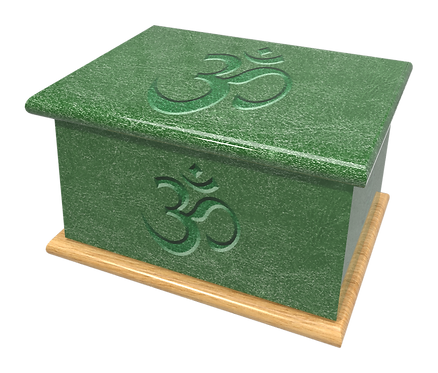 Personalised Custom Cremation Ashes Caskets and Keep-Sake Urns in a Spiritual HINDU design