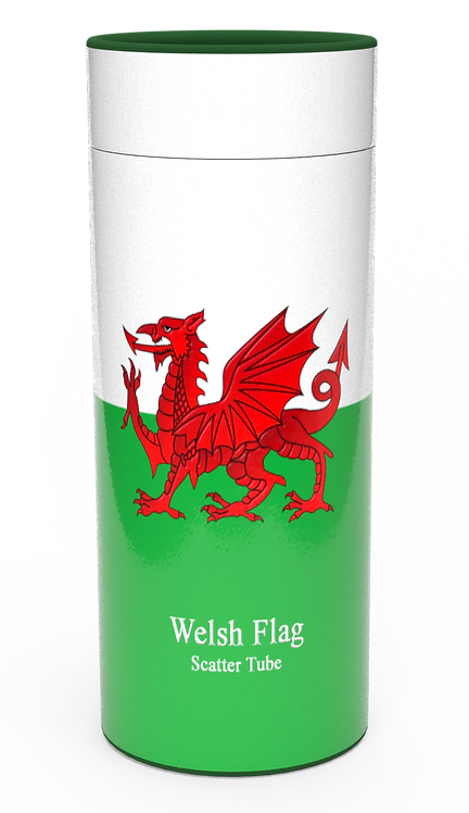 Personalised Custom Bespoke Ashes Scattering Tube Urn for Cremated Remains in Flag WELSH WALES design