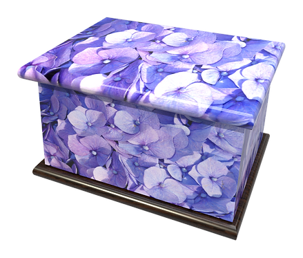 Personalised Custom FLORAL HYDRANGEA Cremation Ashes Casket and Keep-Sake Urns