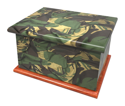 Personalised Custom Cremation Ashes Caskets and Keep-Sake Urns in a MILITARY ARMY CAMOUFLAGEE designign