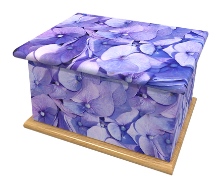 Custom Personalised Cremation Ashes Casket Urn FLOWERS BLUE HYDRANGEA