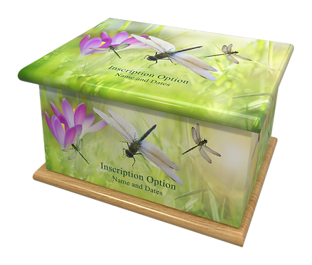 Custom Personalised Cremation Ashes Casket Urn SPRING DRAGONFLIES
