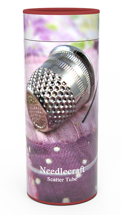 Personalised Custom Bespoke Ashes Scattering Tube Urn for Cremated Remains in a Hobby Interest NEEDLE WORK SEWINGdesign