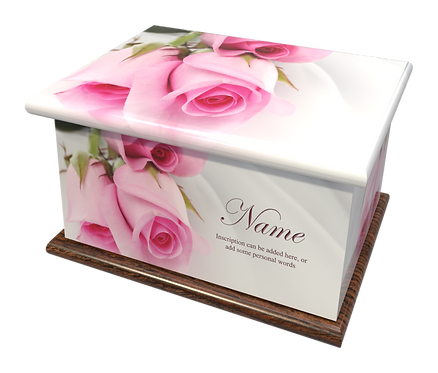 Custom Personalised Cremation Ashes Casket in FLORAL PINK ROSES design