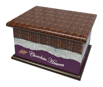 Personalised Custon Cremation Ashes Casket and Keep-Sake in CHOCOLATE design