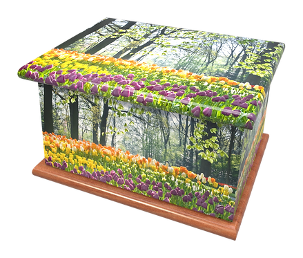 Custom Personalised Cremation Ashes Casket Urn TULIPS DAFFODILS FLOWERS