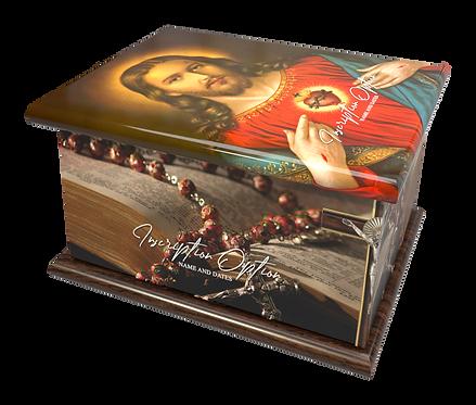 Custom Personalised Cremation Ashes Casket Urn CATHOLIC SACRED HEART JESUS