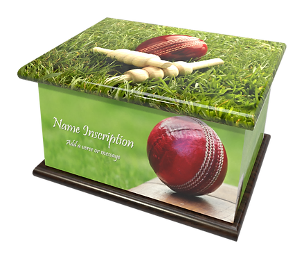 Personalised Custon Cremation Ashes Casket and Keep-Sake in CRICKET SPORT design