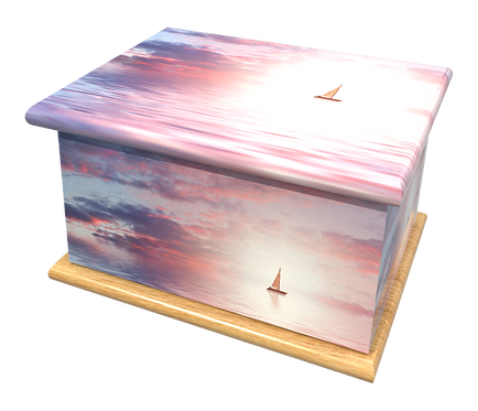 Personalised Custom Cremation Ashes Caskets and Keep-Sake Urns in a SPIRITUAL SAILING BOAT Landscape design
