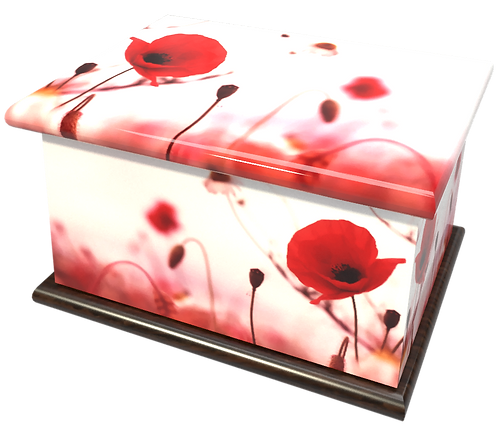 Personalised Custom FLORAL RED POPPY REMEMBRANCE Cremation Ashes Casket and Keep-Sake Urns