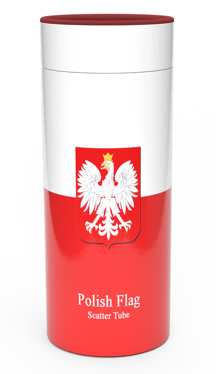 Personalised Custom Bespoke Ashes Scattering Tube Urn for Cremated Remains in Flag POLISH POLAND design
