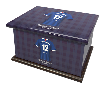 Custom Football Team Cremation Ashes Casket Urn GLASGOW RANGERS FOOTBALL CLUB THE TEDDY BEARS RANGERS