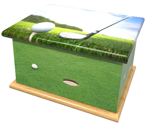 Personalised Custon Cremation Ashes Casket and Keep-Sake in GOLF SPORT design