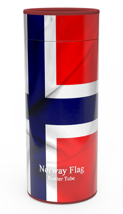 Personalised Custom Bespoke Ashes Scattering Tube Urn for Cremated Remains in four sizes NORWAY NORWEGIAN FLAG