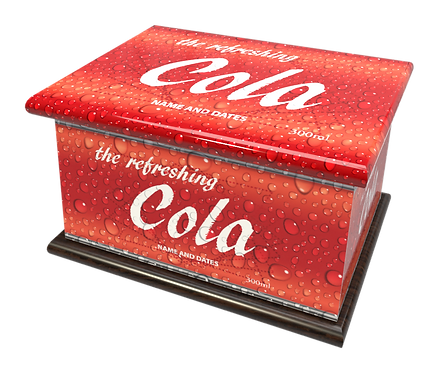 Personalised Custon Cremation Ashes Casket and Keep-Sake in COLA FIZZING DRINK design