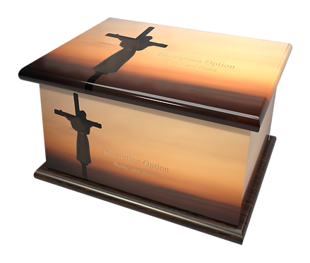 Custom Personalised Cremation Ashes Casket Urn RELIGIOUS JESUS ON THE CROSS