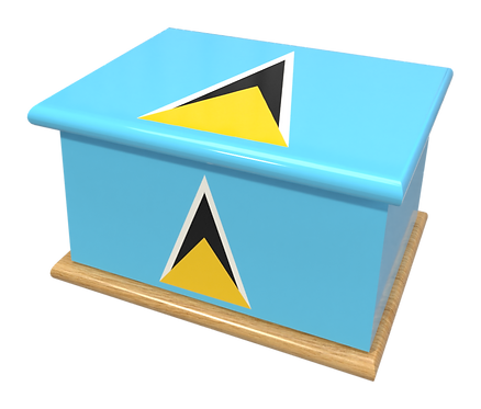 Custom Personalised Ashes Casket in a ST.LUCIA FLAG design