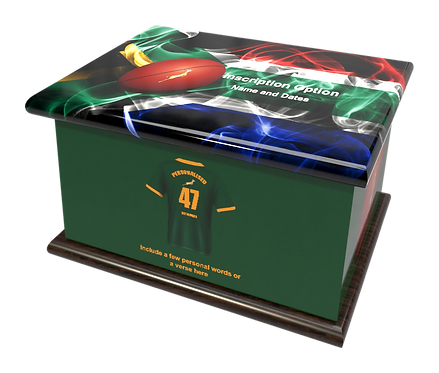 Personalised Custom Cremation Ashes Caskets SOUTH AFRICAN RUGBY SPRINGBOK