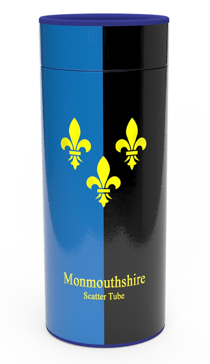 Personalised Custom Bespoke Ashes Scattering Tube Urn for Cremated Remains in Flag MONMOUTHSHIRE design
