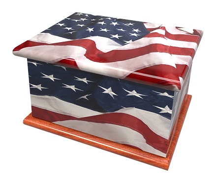 Personalised Custom AMERICAN USA STARS AND STRIPES FLAG Cremation Ashes Casket