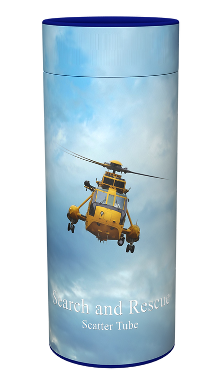 Custom Personalised Ashes Casket Urn Scatter Tube RAF RESCUE HELICOPTER