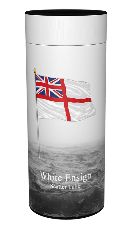 Custom Personalised Ashes Casket Urn Scatter Tube ROYAL NAVY WHITE ENSIGN