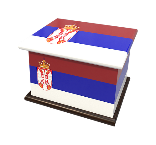 Personalised Custom Cremation Ashes Caskets COUNTRY AND BRITISH COUNTY FLAGS SERBIA SERBIAN