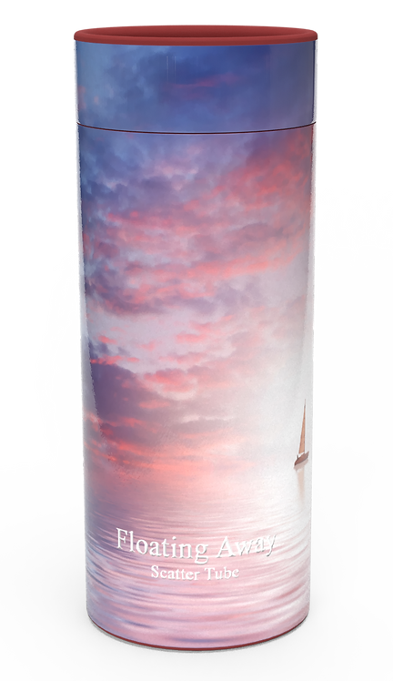 Personalised Custom Bespoke Ashes Scattering Tube Urn for Cremated Remains in a landscape FLOATING AWAY design