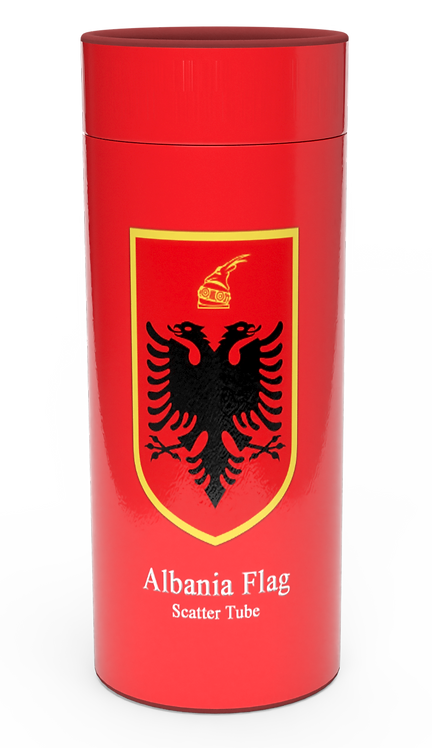 Personalised Custom Bespoke Ashes Scattering Tube Urn for Cremated Remains in Flag ALBANIA ALBANIAN design