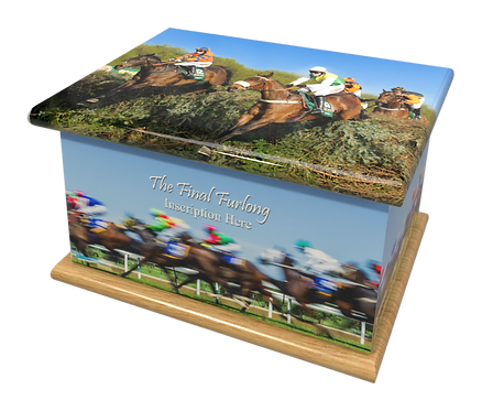 Personalised Custon Cremation Ashes Casket and Keep-Sake in HORSE RACING HORSES design