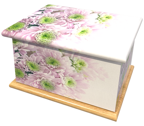 Personalised Custom FLORAL PURPLE FLOWERS Cremation Ashes Casket and Keep-Sake Urns
