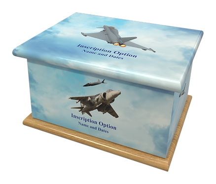 Custom Personalised Cremation Ashes casket Urn RAF JETS BOMBERS PLANES
