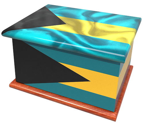 Personalised Custom BAHAMAS FLAG Cremation Ashes Casket