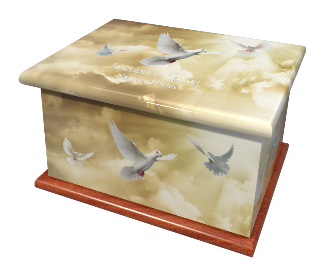 Ashes Casket HEAVENLY DOVES (MAHOGANY BA