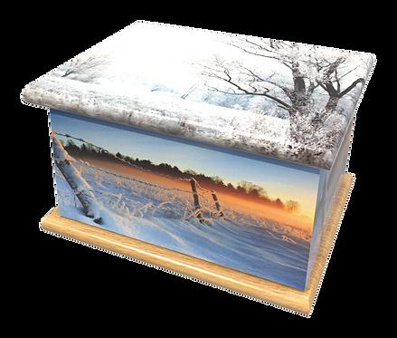 Personalised Custom Cremation Ashes Caskets and Keep-Sake Urns in a WINTER SNOW WONDERLAND Landscape design