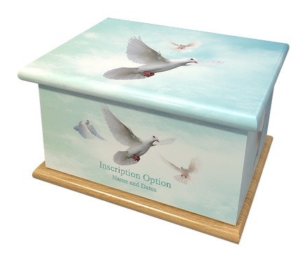 Custom Personalised Cremation Ashes Casket DOVES HEAVEN