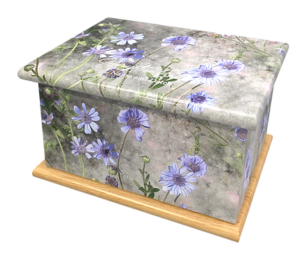Custom Personalised Cremation Ashes Casket Urn BLUE DAISIES FLOWERS