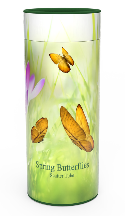 Custom Personalised Funeral Cremation Ashes Casket Urn Floral Flower Designs  SPRING BUTTERFLIES