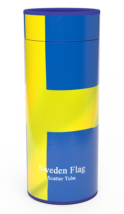 Personalised Custom Bespoke Ashes Scattering Tube Urn for Cremated Remains in four sizes SWEDEN SWEDISH FLAG